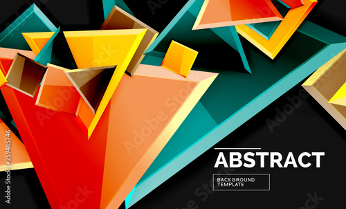 Glossy mosaic style geometric shapes - squares and triangles on black