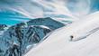canvas print picture - Skifahren in den Allgäuer Alpen bei blauem Himmel