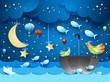 Surreal seascape with moon, umbrella, balloons and flying fishes