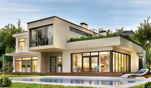 Modern upscale country house with a large garden, terrace and swimming pool