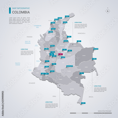 Obraz na plátne Colombia vector map with infographic elements, pointer marks.
