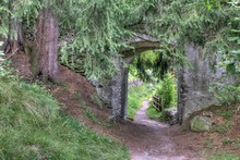 Overgrown Castle Gate, Taufers Castle, Sand In Taufers, Taufer Ahrntal, South Tyrol, Italy, Europe