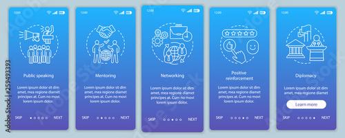 Fotografía  Communication skills onboarding mobile app page screen vector te