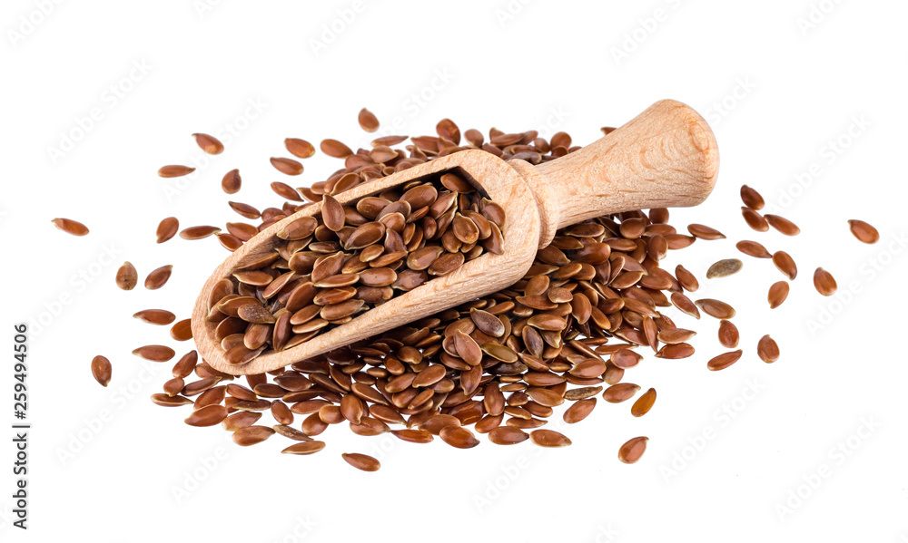 Fototapety, obrazy: Pile of flax seeds isolated on white background, close-up of flaxseed in wooden scoop