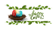 Happy Easter, White Postcard With Frame Of Liana And Easter Eggs In The Nest