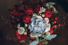 Beautiful Wedding Bouquet With Red Roses And Succulents. Creative Rustic Bouquet For Special Occasion