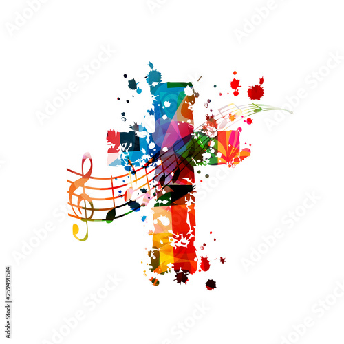 Fototapeta Colorful christian cross with music notes isolated vector illustration