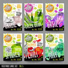 Food Label Set Stickers Collec...