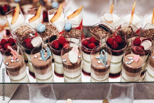 delicious candy bar at luxury  wedding reception Fototapeta