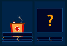 Quiz Brainy Game With Question . Quiz Game With Answers . Colorful Flat Cartoon Vector Illustration.