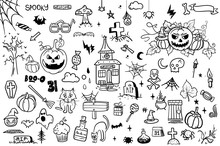 Vector Hand Drawn Doodle Cartoon Collection Set Of Icon And Symbols About The Halloween Day,isolated Background