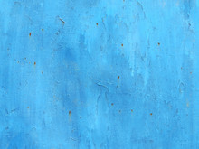 Old Blue Paint Metal With Rust Texture Background