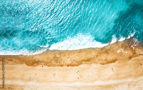 Canvas Prints Countryside Aerial photo of summer beach and blue ocean with sky.