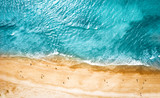 Aerial photo of summer beach and blue ocean with sky.  - 259517723