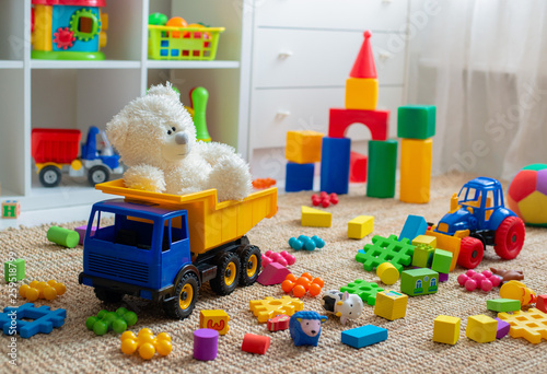 Fotografia, Obraz Children's playroom with plastic colorful educational blocks toys