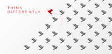 Think Differently Concept. Origami Bird Changing Direction