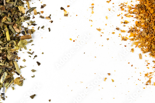 Photo  Spices mix of peppers and herbs close-up on a light background, macro