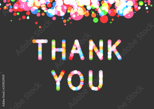 Vector thank you phrase in sparkling bokeh effect font. Canvas Print