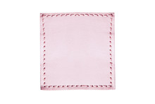 Pink Stitched Leather Seam Frame Label Tag Isolated On White. Empty Blank Copy Space Fashion Background.