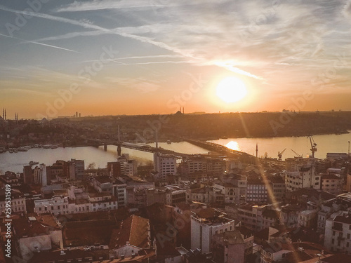 Poster London Golden sunset view to Istanbul city from Galata tower