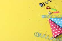 Accessories For A Party Or Birthday On A Colored Background Top View.
