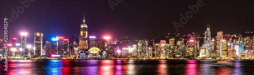 香港 ビクトリア・ハーバー 夜景 ワイド Fototapeta