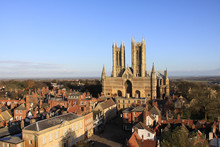 Lincoln Cathedral Against A Clear Blue Sky