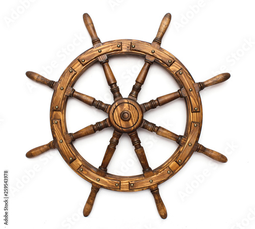 Tuinposter Schip Steering hand wheel ship on white background