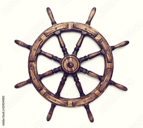 Obraz na płótnie Steering hand wheel ship on white background