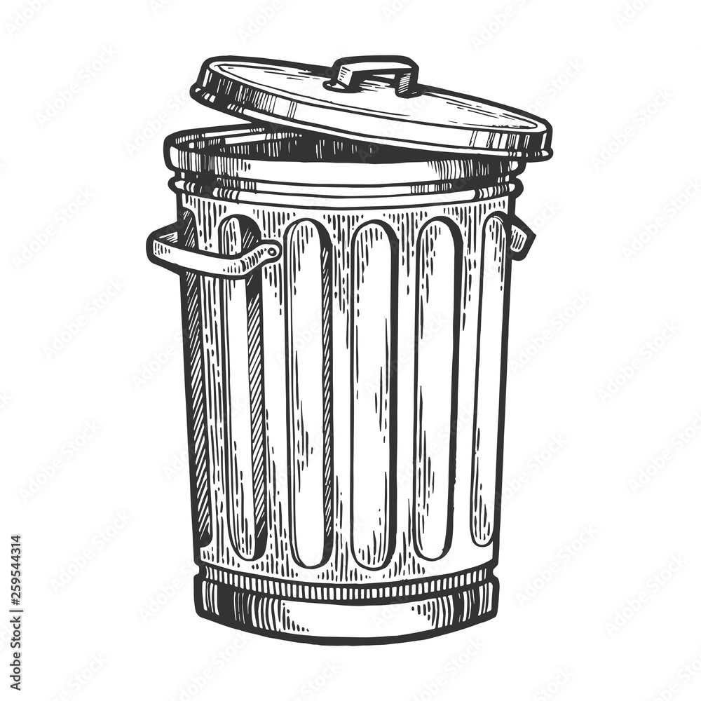 Fototapeta Metal trash can sketch engraving vector illustration. Scratch board style imitation. Hand drawn image.