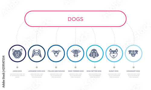 simple illustration set of 7 vector blue icons such as hovawart dog, husky dog, Fototapet