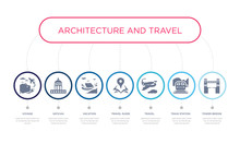 Simple Illustration Set Of 7 Vector Blue Icons Such As Tower Bridge, Train Station, Travel, _icon4, Vacation, Vatican, Voyage. Infographic Design With 7 Icons Pack