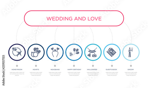 Fotografia simple illustration set of 7 vector blue icons such as groom, guests book, halloween, _icon4, headband, hearts, honeymoon
