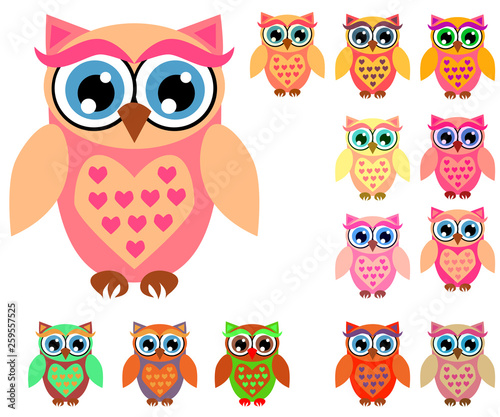 Poster Oiseaux, Abeilles Large set of cute multicolored cartoon owls for children, different designs, trendy coral color