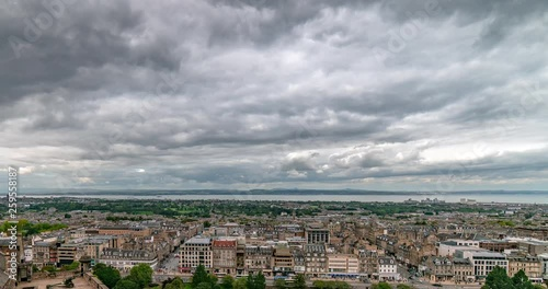 Panoramic view of Edingburgh city, in 4K (4096X2160)  high resolution Timelapse Canvas Print