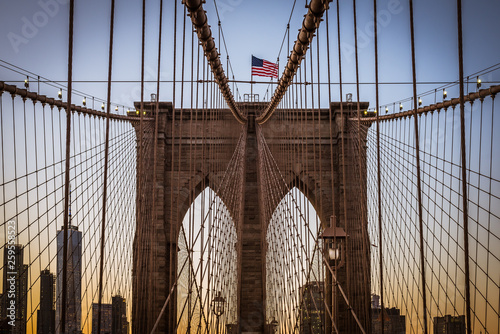 Photo  New York panorama from Brooklyn bridge at sunset of an American sunny day