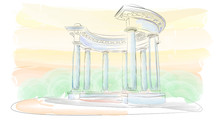 Sketch. Arbor With Eight Columns In The Doric Style. Rotunda Of Friendship Of Peoples