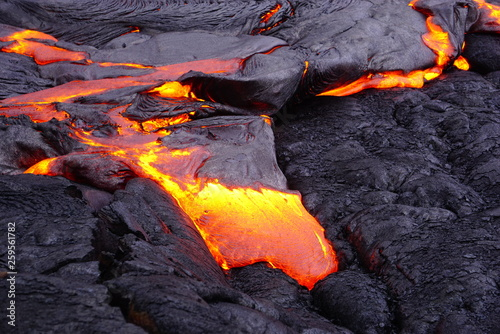 Spoed Fotobehang Vulkaan Lava field with new hot flowing lava in Big Island in Hawaii