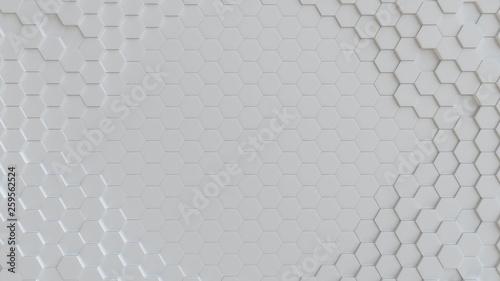 Hexagonal white background texture. 3d illustration, 3d rendering - 259562524