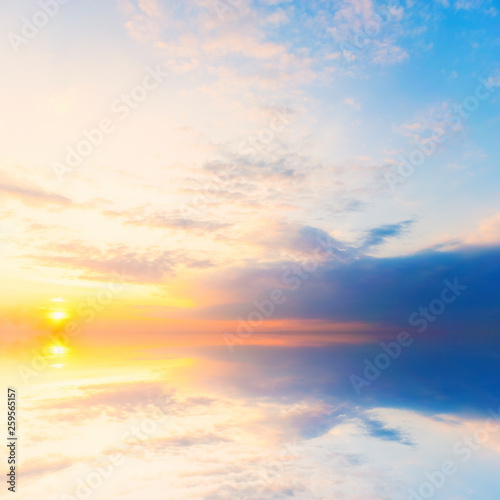 Fototapety, obrazy: Background sky during sunset and water reflections.