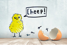 3d Rendering Of Broken Egg Shell On White Wooden Floor With Cartoon Yellow Chicken And CHEEP Sign Drawn On White Wall Background