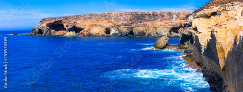 Volcanic Fuerteventura island - natural cave formations in Ajuy. Canary islands