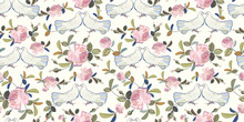 Cream Pattern With Rose And Do...
