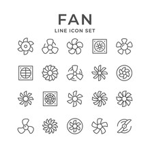 Set Line Icons Of Fan
