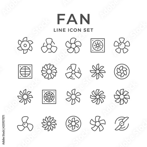 Set line icons of fan - 259571171