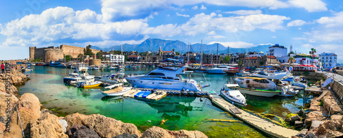 Landmarks of Cyprus island - medieval Kyrenia town (turkish part) , view of castle and marine