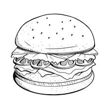 Hamburger Vector Illustration. Hamburger Line Drawing