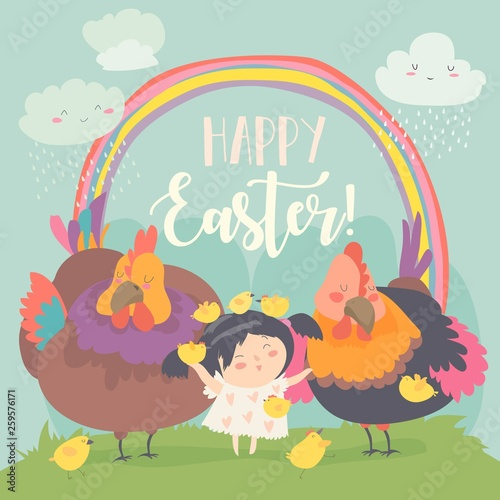 Cute little girl with funny chickens. Happy Easter