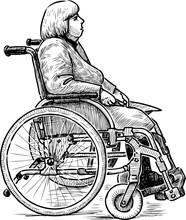 Sketch Of A Disabled Woman In A Wheelchair