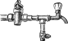 Sketch Of An Old Water Tap